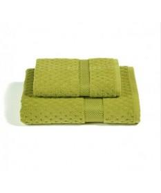 Asciugamani-Caleffi-set-viso+ospite-verde