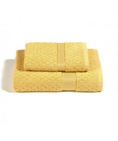Asciugamani-Caleffi-set-viso+ospite-giallo