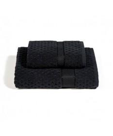 Asciugamani-Caleffi-set-viso+ospite-nero